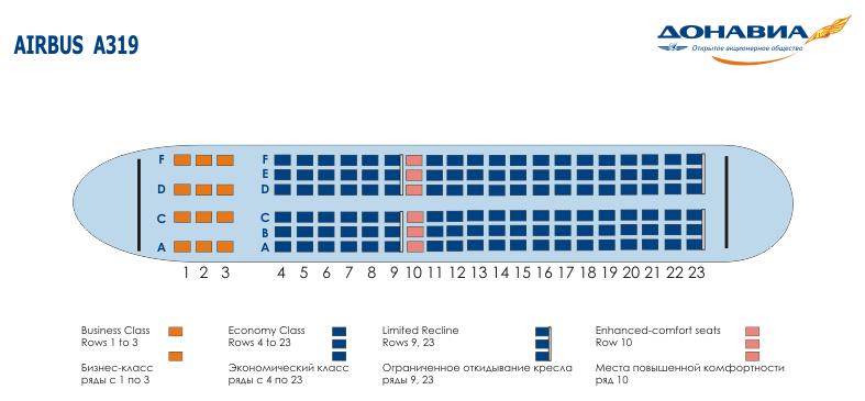 места в салоне Airbus A319